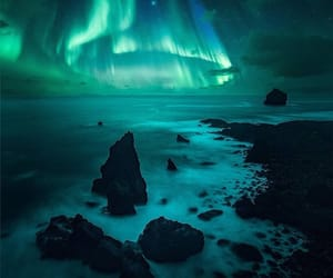 aurora borealis, clouds, and iceland image