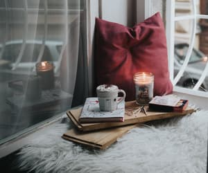 book, candle, and hot chocolate image