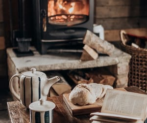 cozy, autumn, and fireplace image