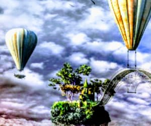 balloons, clouds, and hotairballoon image