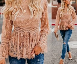 lace peach blouse image