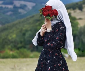 hijab, flower, and girl image
