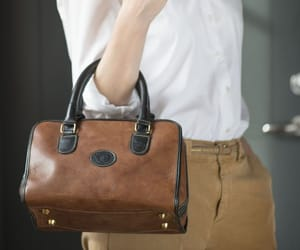 brown leather bag, etsy, and top handles bag image