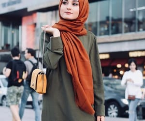 fashion, hand bag, and scarf image