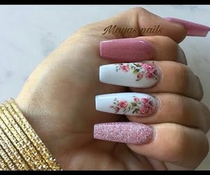 flowers, glitter, and nails image