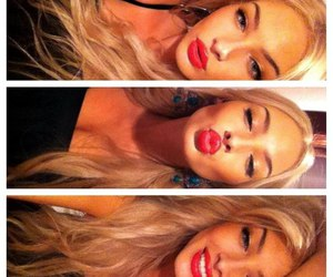 blonde, lips, and red lips image