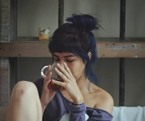 blue hair, coffee, and girl image