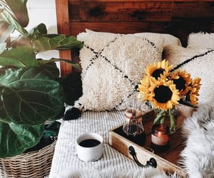 bedroom, flowers, and sunflowers image