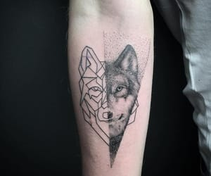 tatoo, tattoo, and wolf image