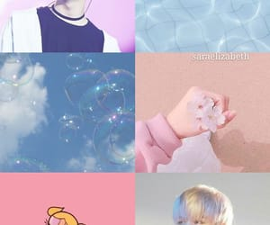 bts aesthetic, pink and blue, and suga aesthetic image
