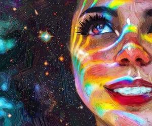 art, stars, and rainbow image