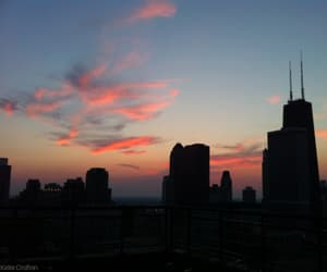 chicago, city, and sunset image