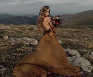 air, brown, and dress image