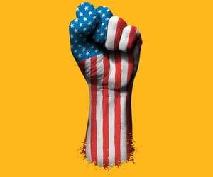 america, flag, and hand image