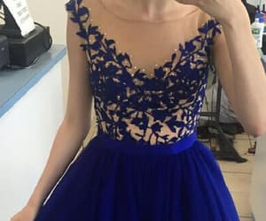 high neck prom dress, homecoming dress short, and homecoming dress blue image