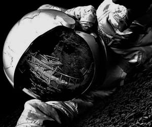 astronaut, black and white, and black image