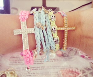 bracelet, pink, and cross image