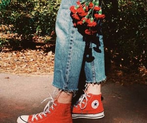 jeans, red, and flowers image