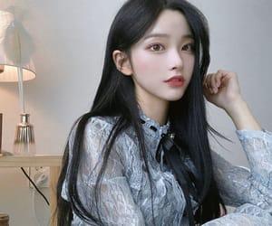 asian, beautiful, and black hair image