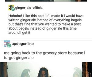 bagels, funny, and ginger ale image