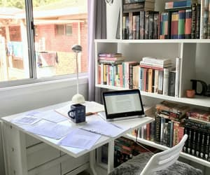 desk, study, and books image