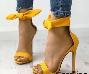 yellow, heels, and fashion image