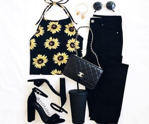 outfit, sunflower, and fashion image