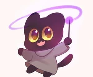 cat, chibi, and wand image