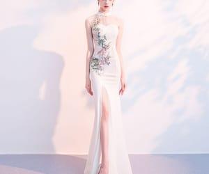 evening dress, ivory dress, and formal dress image