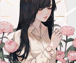anime, girl, and rose image