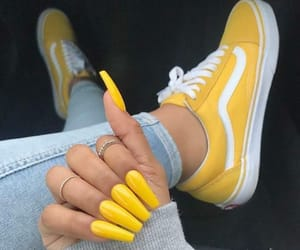 nails, yellow, and vans image