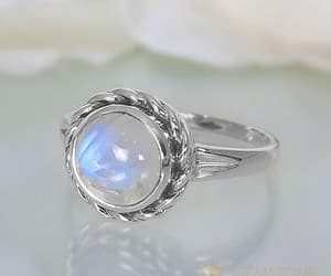 silver jewelry, moonstone ring, and gemstone rings image