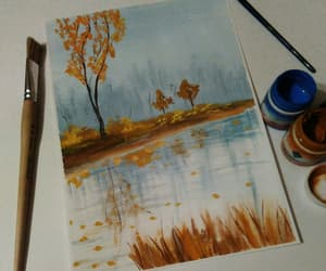 autumn, gouache, and lake image