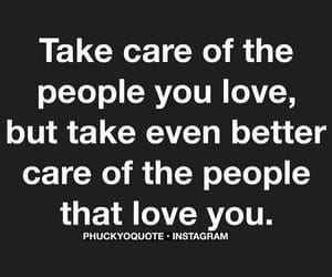 quote, take care, and love image