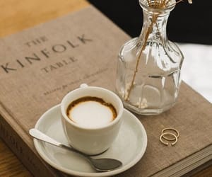 coffee, book, and beige image