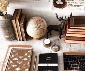 book, decor, and desk image