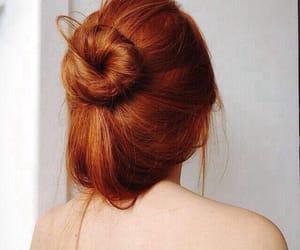 hair, bun, and redhead image