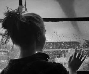 girl, rain, and black and white image
