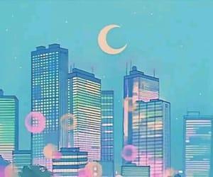 anime, moon, and city image