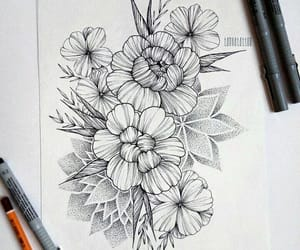 drawing, flowers, and ink image