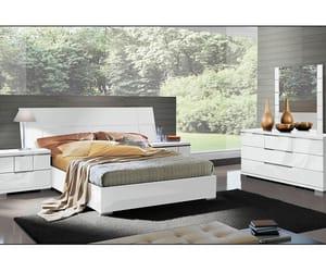bed, wooden bed, and platform bed image