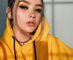girl, makeup, and yellow image