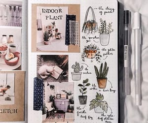 art, journal, and plants image
