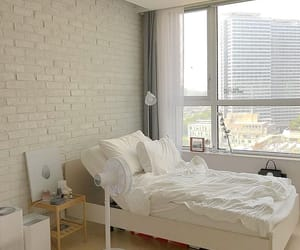 white, white bed, and white room image