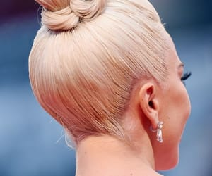 blonde, bun, and earring image