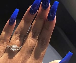 blue, nails, and ring image