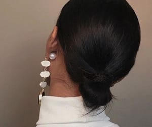 hair, earrings, and hairstyle image