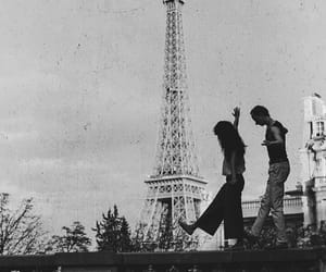 couple, paris, and eiffel tower image