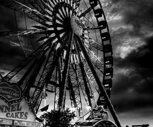 amusement park, black & white, and ferris wheel image