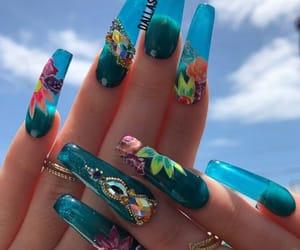 blue, blue nails, and nail designs image